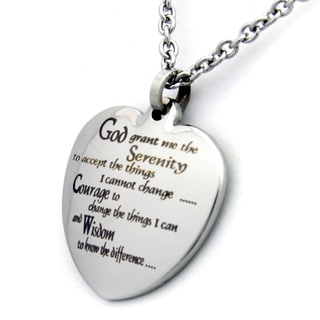Serenity Prayer Heart Stainless Steel Necklace