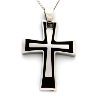 Black Enamel Cross Stainless Steel Necklace