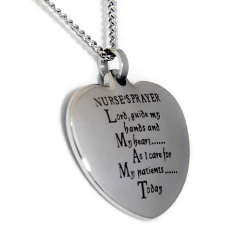 Nurse's Prayer Heart Stainless Steel Necklace
