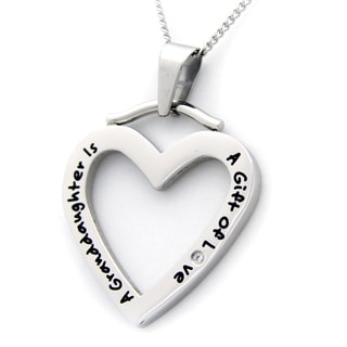 A Granddaughter Is A Gift Of Love' Cubic Zirconia Heart Shaped Necklace