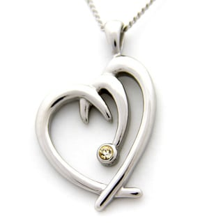 Jeweled Heart Shaped Stainless Steel Necklace