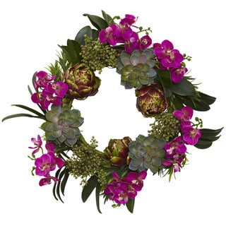 Nearly Natural Orchid, Artichoke and Succulent Wreath