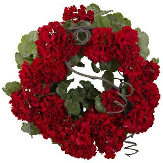 Nearly Natural Geranium Wreath