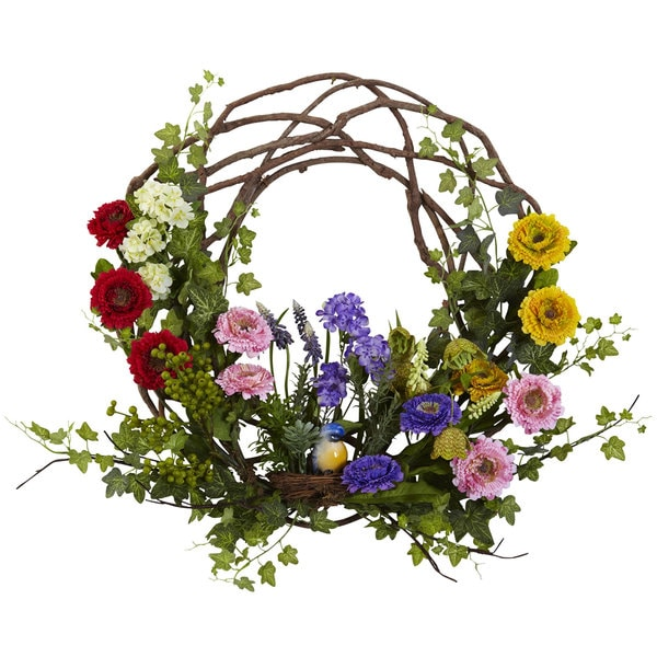 Spring Summer Wreath Front Door Silk Flower Greens Floral ... |Spring Flower Wreath