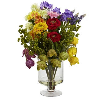 Nearly Natural Spring Floral Arrangement - Green