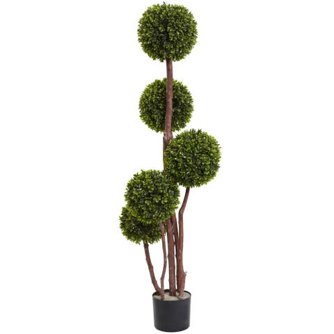 Nearly Natural UV Resistant Boxwood Five Ball Topiary