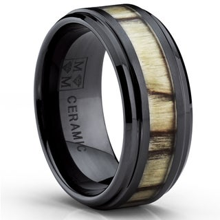Oliveti Black Ceramic Men's Birch Zebra Wood Inlay Ring (9 mm)