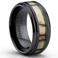 Oliveti Black Ceramic Men's Birch Zebra Wood Inlay Ring (9 mm)