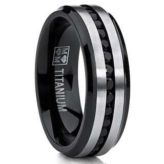 Oliveti Men's Two-tone Black Titanium Cubic Zirconia Comfort Band (7 mm) (More options available)