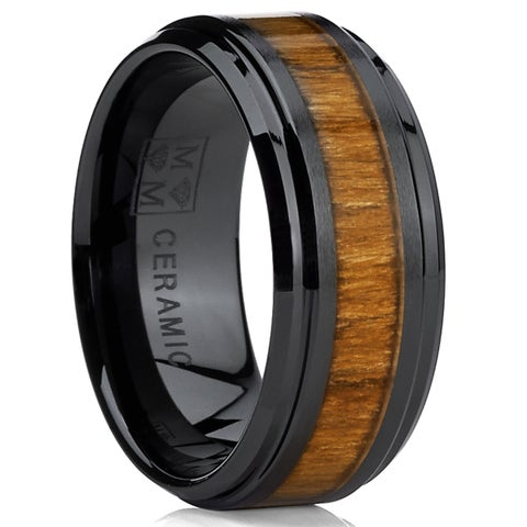 Oliveti Black Ceramic Men's Santos Hawaiian Koa Rosewood Inlay Ring (9 mm)