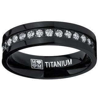 Oliveti Men's Black Titanium Cubic Zirconia Eternity Titanium Comfort Fit Ring