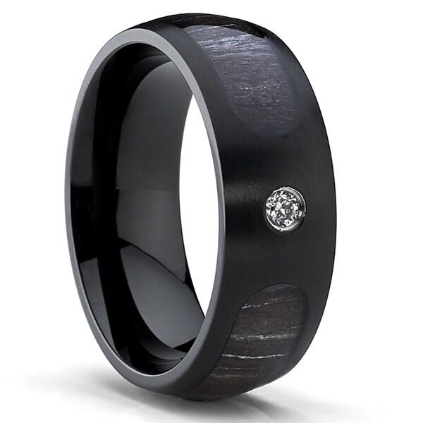 oliveti black titanium mens cubic zirconia marble wood inlay dome ring - Titanium Mens Wedding Rings