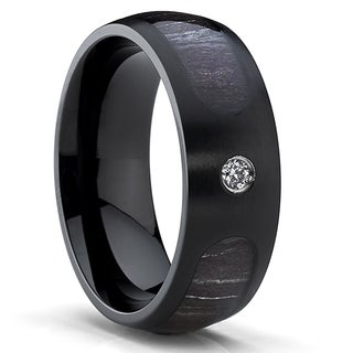Oliveti Black Titanium Men's Cubic Zirconia Marble Wood Inlay Dome Ring