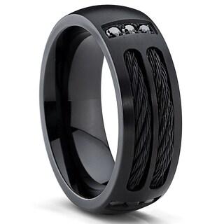 Oliveti Men's Black Titanium Cubic Zirconia Domed Comfort Fit Ring