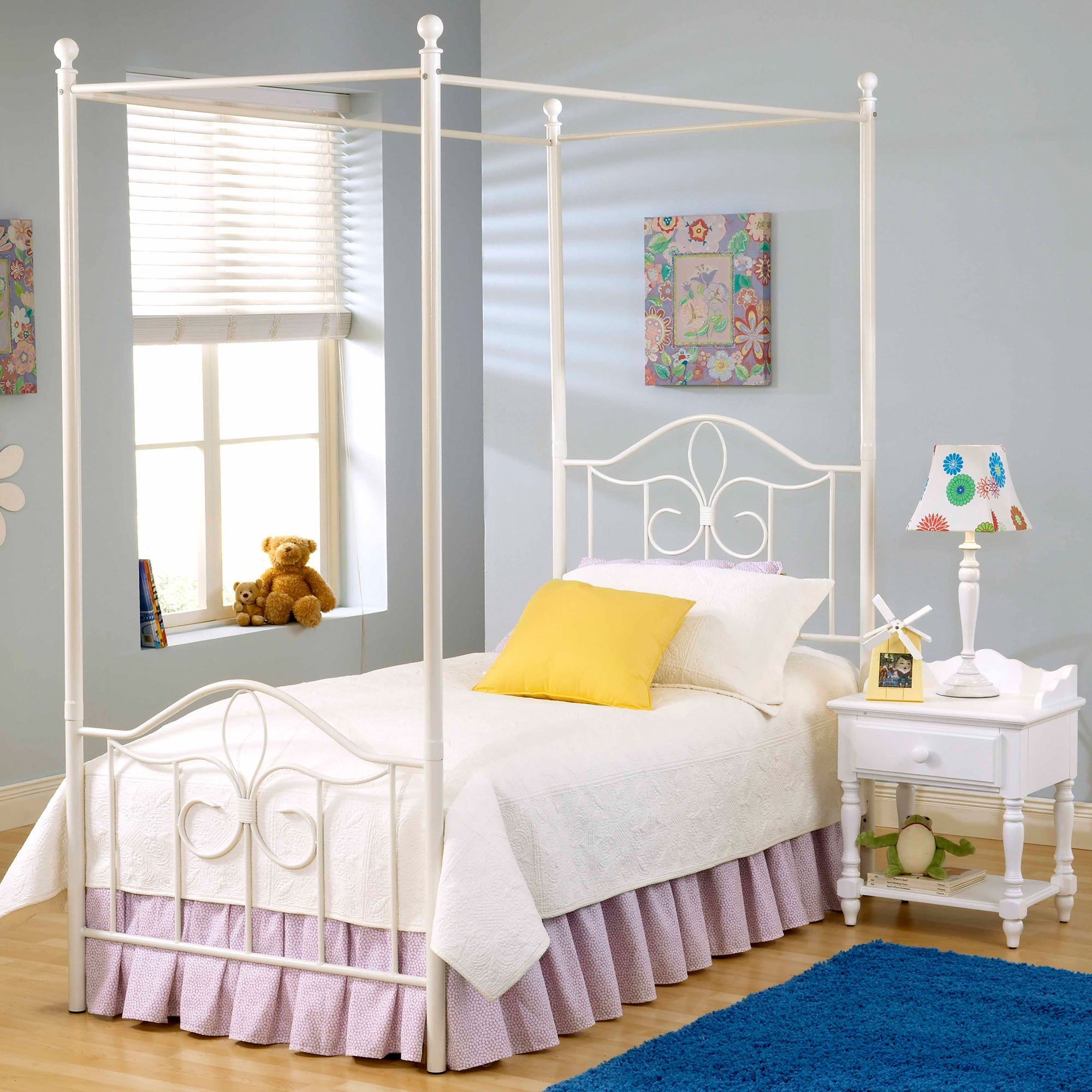 Hillsdale Westfield Canopy Bed Set (Twin), White