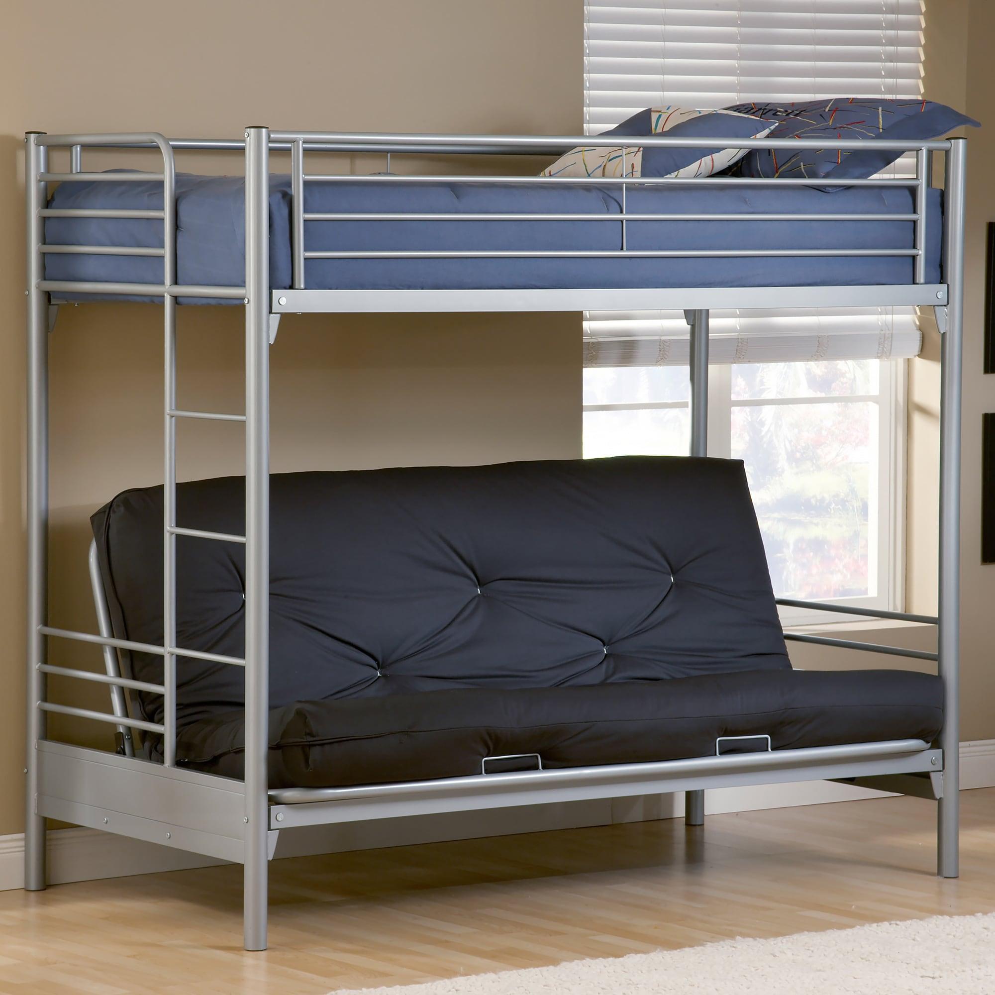Hillsdale Brayden Twin-over-Full Futon Bunk Bed (Silver)