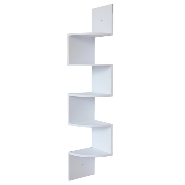 White Finish Large Corner Wall Mount Zig Zag Wallmount Shelf