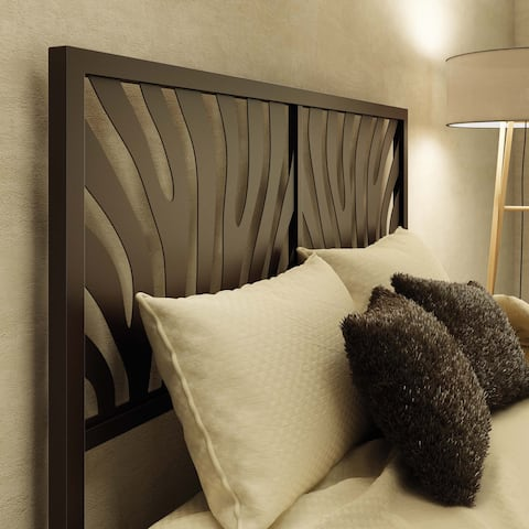 The Curated Nomad Harwood Zebra Queen Size 60-inch Metal Headboard