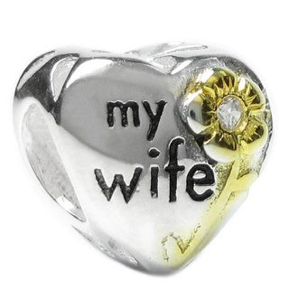 Queenberry Sterling Silver 'Love My Wife' Cubic Zirconia European Bead Charm