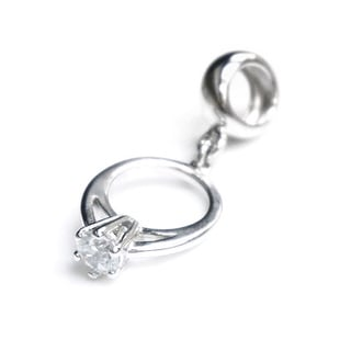 Queenberry Sterling Silver Engagement Ring with Clear Cubic Zirconia European Bead Charm