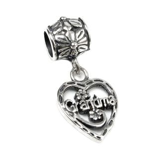 Queenberry Sterling Silver Love Grandma Dangle European Bead Charm