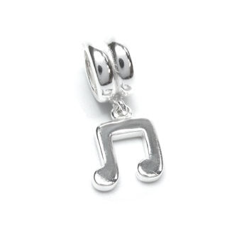 Queenberry Sterling Silver Music Note Melody Dangle European Bead Charm