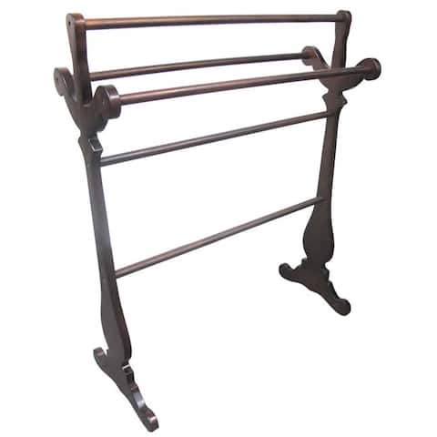 D-Art Collection Mahogany Carved Towel Rack