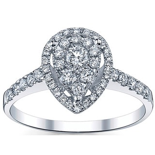 18k White Gold 3/5ct TDW Pear-shaped Diamond Engagement Ring (G-H, SI1-SI2)