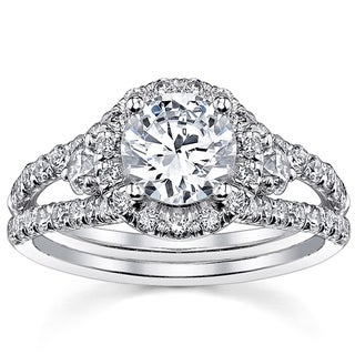 18k White Gold 1 2/5ct TDW Round Certified Diamond Engagement Ring