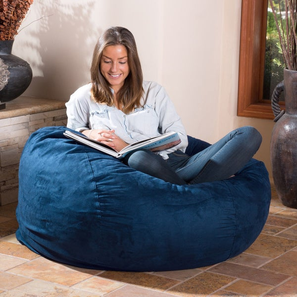 Christopher Knight Home Lillian Faux Suede 4-foot Lounge Beanbag Chair 3817d1973d544