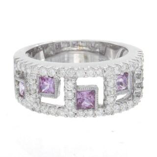 14k White Gold 4/5ct TDW Diamond and Pink Sapphire Ring (H-I, I1-I2)