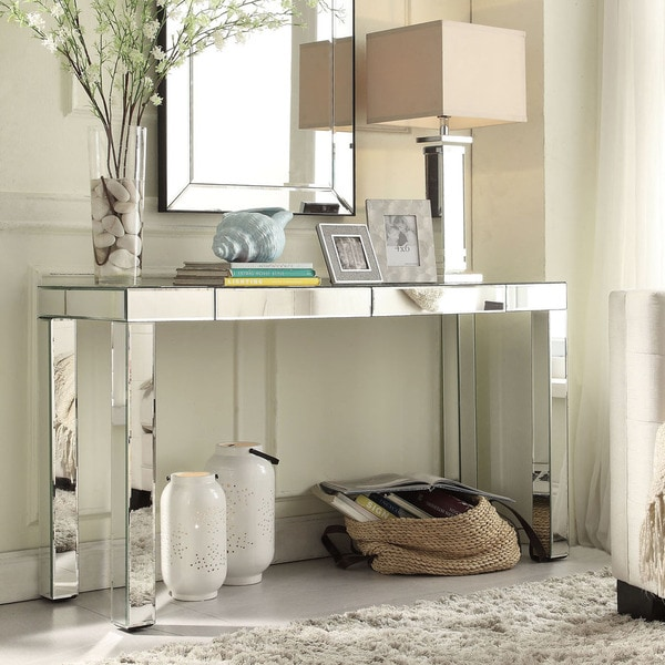 Inspire q fascual 2 drawer mirrored console table free shipping today 16775263 - Mirrored console table overstock ...