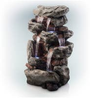 Alpine Rainforest Rock Tiered Fountain w/ LED Lights, 51 Inch Tall