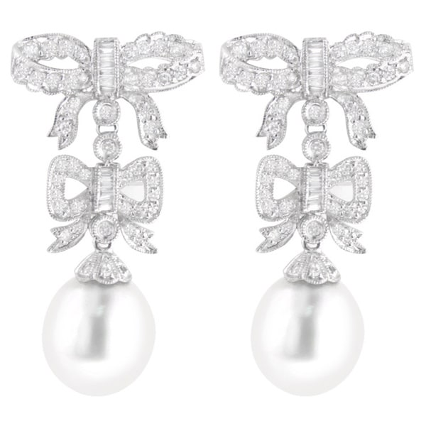 805252a7242168 Luxurman 18k White Gold 1 1 5ct TDW Diamond and South Sea Pearl Bowtie  Earrings