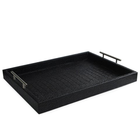Black Leather Alligator Tray with Handles