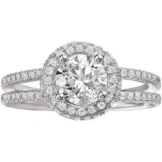 Avanti 14k White Gold 3/4ct TDW Split Shank Diamond Halo Engagement Ring