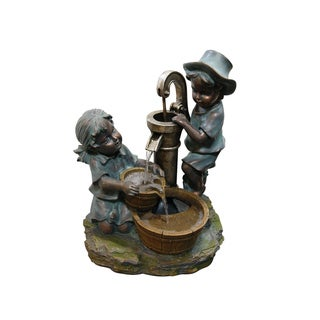 Alpine Polyresin Fountain w/ Boy and Girl Fetching Water, 24 Inch Tall