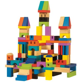 Master Builder Wooden 136-piece Building Blocks Set