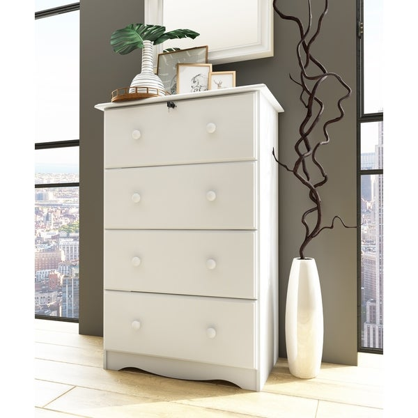 Solid Wood 4-Super Jumbo Drawer Chest with Lock by Palace Imports. Opens flyout.
