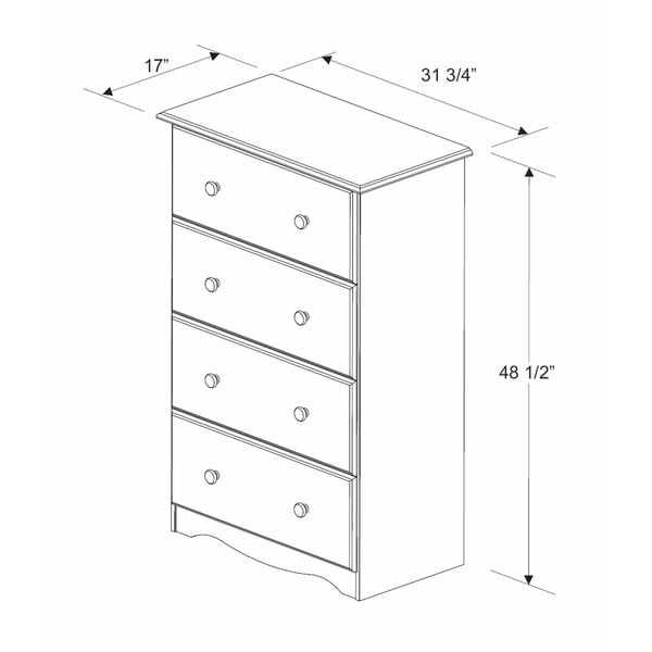 Solid Wood 4-Super Jumbo Drawer Chest with Lock by Palace Imports