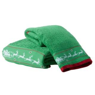 Enchante 'Santa's Sleigh' Embellished Turkish Cotton 2-piece Towel Set (Option: Green)
