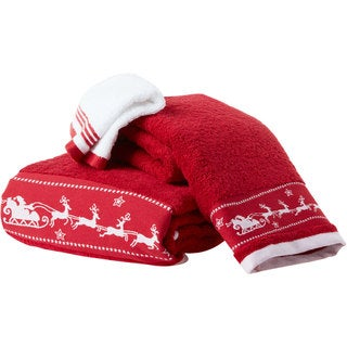 Enchante 'Santa's Sleigh' Embellished Turkish Cotton 2-piece Towel Set (2 options available)
