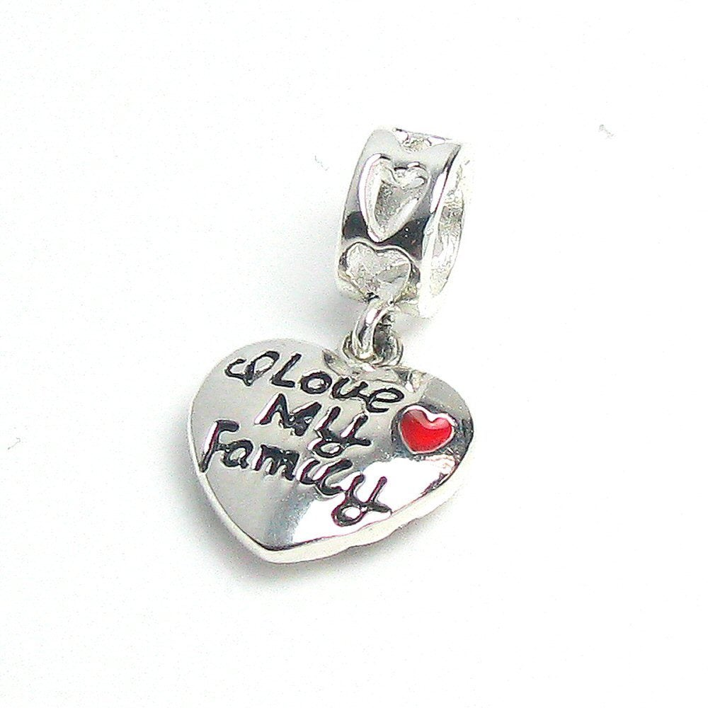 I Love My Family 925 Sterling Silver Pink CZ Dangle Love Heart Charm Pendant