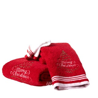 Enchante Merry Christmas Tree Embroidered Turkish Cotton 3-piece Towel Set (2 options available)