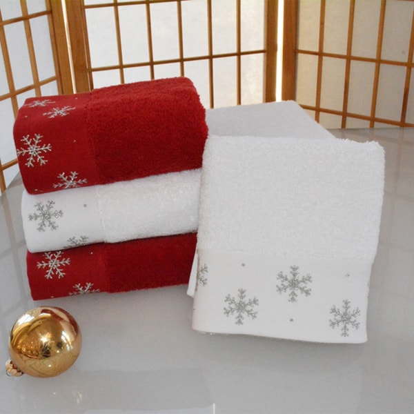 Enchante Snowflakes Embellished Turkish Cotton 2 Piece Towel Set On Sale Free Shipping Today