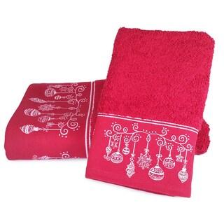 Enchante Holiday Ornaments Embellished Turkish Cotton 2-piece Towel Set