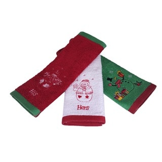 Enchante His and Hers Snowman Embroidered Turkish Cotton Washcloths (Set of 3)