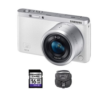 Samsung NX Mini Mirrorless White Digital Camera with 9-27mm Lens 16GB Bundle