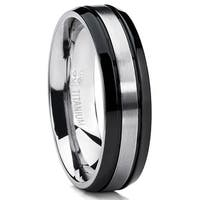Oliveti Titanium Two-tone Black Grooved Comfort Fit Men's Ring