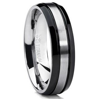Oliveti Titanium Two-tone Black Grooved Comfort Fit Men's Ring